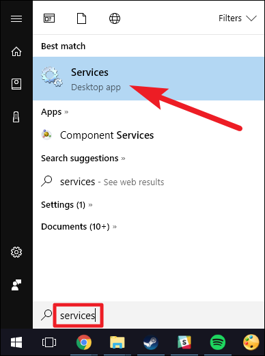 Step to Shutdown remote computer is to Open Services With Help of Windows Search Box